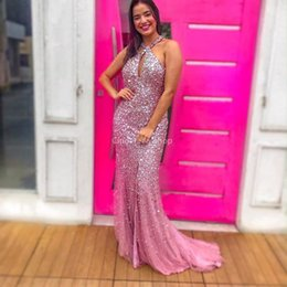 silver rhinestone prom dress halter Coupons - Luxury Halter Mermaid Prom Dresses Sequined Rhinestones Beaded Formal Graduation Party Gowns With Slit 2019 Customized vestidos de noche