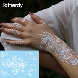 856ef43a75cc7 1sheet White Lace Henna Flash Tattoo Butterfly Feather Fake Temporary  Tattoos Sticker Arabic Indian Summer Style Body Art S1013
