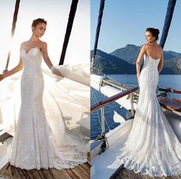 2019 robes de mariée sirène de plage sexy balayage train chérie dentelle dos nu élégante robe de mariée robe de mariée ? partir de fabricateur