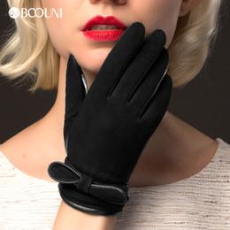 guanti di vestito di cuoio delle donne Sconti BOOUNI guanti di cuoio genuini delle donne di modo del nero della pelle scamosciata pelle di pecora Guanti autunno inverno più velluto guanti caldi di guida NW511