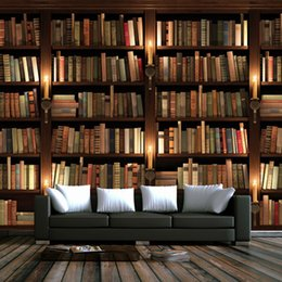 Photo Wallpaper Interior Bookcase Background Wall Mural Study Custom Mural Library Wallpaper Grade Products According To Quality Painting Supplies & Wall Treatments