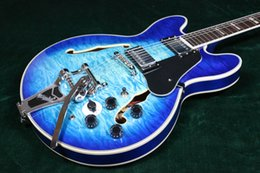 Hohle e-gitarre tremolo online-Seltene Custom ES345 Semi Hohlkörper E-Gitarre Ocean Blue Burst Big Tremolo Chinesische Gitarren Gesteppte Blau