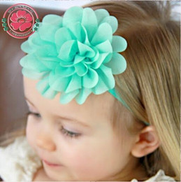 Wholesale- 12pcs lot 2015 NEW Baby Girls Elastic Headband Chiffon Flower  Head band Newborn Infant Hair Band Kids Baby Hair Accessories 584 36b6ca31248f