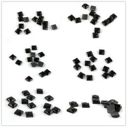 piedras acrilicas para ropa Rebajas Varios Tamaños Cuadrados Negro Piedra Fancy Piedras Apliques Cosa En Flatback Cuentas de Acrílico Strass Stones Para DIY Ropa decoración