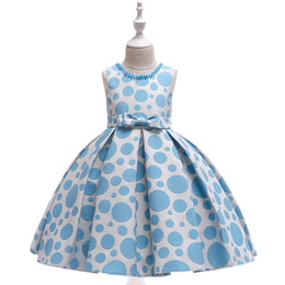 Elegantes vestidos pontilhados on-line-Varejo bebê menina vestidos pérola bolinhas impresso arco pettiskirt vestido de princesa crianças elegantes vestidos de baile festa de crianças boutique de roupas