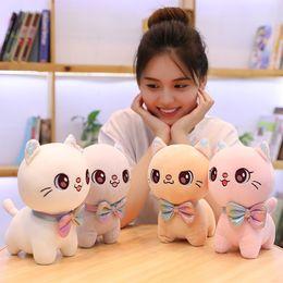 2019 roba di legame di arco 25-45 cm bambola di gatto con gli occhi grandi carino farfallino gatto peluche bambola di peluche eccellente regalo di compleanno per bambini roba di legame di arco economici