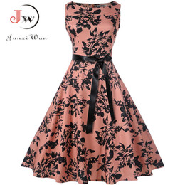 Plus Size Summer Dress Women Vintage Rockabilly Dresses Jurken Floral 50s  60s Retro Big Swing Pinup Party Dress Vestidos Y190415