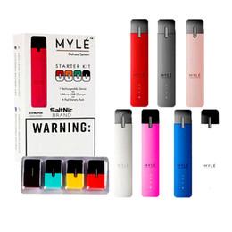 Myle Başlangıç Kitleri 240 mAh Pil Taşınabilir Vape Cihazı All-in-One Teslimat ile 4 adet Pod Kartuşları için Kalın Yağ 7 Renkler DHL Ücretsiz nereden