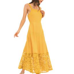 vestidos amarillos sólidos Rebajas Vestido de pecho envuelto en eslinga de las mujeres de la moda con vestido amarillo de costura hueca Casual Una línea de color sólido Hasta el tobillo *