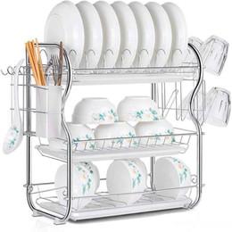 Küche Lagerung Chrome Dish Drainer Besteck Cup Rack Tropfschale Organizer Hause
