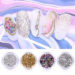 2g стекло Скидка NEE JOLIE 1 Box 2g Gold Silver Nail Stone Irregular Nail Sequins Broken Glass Mixed Gems 3D Decoration Manicure Tips