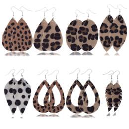 2019 araña multicolor 10pairs / lot Pendientes de cuero de imitación del leopardo gota Conjunto para las mujeres 2019 Pendientes de cuero al por mayor de joyería de moda de pelo pendiente caballo