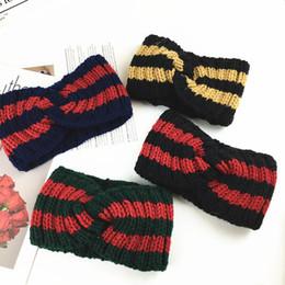 pajarita azul marino oscuro Rebajas 2018 Invierno de punto de lana diadema coreano sombreros dulce lindo accesorios para el cabello ancho lado lavado cara Eastic banda para el cabello