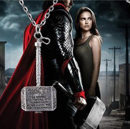 Wunderhalsketten online-Fashion Movies Thor Hammer Necklace Marvel Avengers Dark World Necklace Classic Movies Exquisite Mjolnir Pendant Necklace