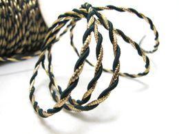 APURAMENTO | 5 Yards 3mm Green and Gold corda | Cord | Corda | decorativa cabo de corda | Handle Cord | Artesanato de Fornecedores de saco da mamã ajustado