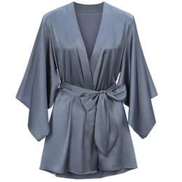 Argentina Batas de dama de honor 2019 Charmeuse de seda Vestidos de kimono de boda para dama de honor Batas para mujer Batas de baño Mini vestido de noche Ropa de noche Suministro