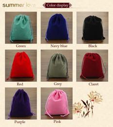 2019 bolsos del favor de borgoña 2019 Alta Calidad Velvet Drawstring Jewelry Bag Packaging 80 * 100 MM Colorido Pendiente Collar Anillo de Regalo Bolsa Personalizable