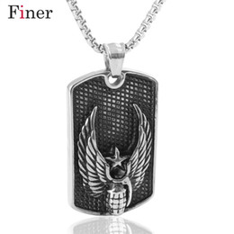 Collier pendentif grenade en Ligne-U.S.Army Militaire Style Ange Aile Grenade Dog Tag Pendentif Rétro Noir Tag Dog Tag Collier Cool Eagle Crâne Pendentif Collier