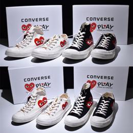 design estelar calçado casual Desconto Comme des Garçons PLAY X CONVERSE All Star 1970 design de alta Top sapatos de lazer esportivo Preto Casual sapatas de lona