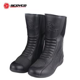 Canada SCOYCO Bottes De Moto En Cuir Imperméable Moto Long Riding Sport Route SPEED Professionnel Botas Motocross Chaussures EU 39-46 Offre