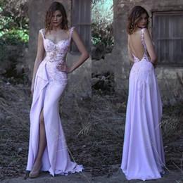 c68ada9b82 Sexy gasa árabe vestidos largos de baile con cuentas apliques de encaje  cariño sin mangas vestido de fiesta Glamorous Slit delantero sirena vestidos  de ...