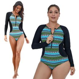 Argentina Venta al por mayor para mujer traje de baño más el tamaño de una pieza bohemio patrón geométrico patchwork mangas largas snorkeling surf zip frontal cheap womens plus swimsuit Suministro