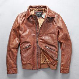 Коричневые всадники онлайн-Мужская Натуральная Кожа Коричневая Куртка Простая Урожай Классическая Коускин Мотоцикл Куртка для Мужчин Европейский Американский Стиль Пальто