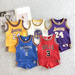 Wholesale Nouvelle Mode D été Bébé Enfants Sport Set Enfants Coton De Mode Sans Manches Motion Gilet Costume Pur Coton Robe De Basket ball Vêtements