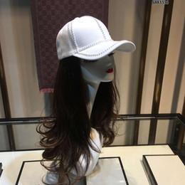 Gorros de beisbol perlas online-El diseñador de moda de béisbol capsula los sombreros de lujo para la letra l Mujer perla Casquette sombreros ajustables 4 Opciones de Color capo muy calidad con la caja