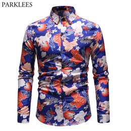 648e8d77cf6 Stylish Floral Slim Fit Shirt Men 2019 Brand New Long Sleeve Mens Dress  Shirts Casual Holiday Party Male Social Shirt Chemise