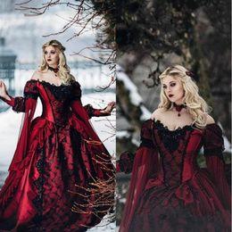 Collar de dormir online-Gótico bella durmiente princesa medieval Borgoña Negro vestidos de noche largos apliques de encaje de manga de estilo victoriano de la mascarada de Cosplay Prom Vestidos