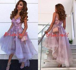 Robes de bal courtes fleurs pas cher en Ligne-Robes de bal courtes de fleur 3D appliquées 2019 Robe de soirée pas cher Lavande Homecoming Graduation Dress Sweet 16 Filles
