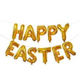 silver aluminum foil Coupons - Happy Easter 11 Letter Aluminum Film Balloon 16 inch Letter Aluminum Foil Balloon Gold Silver Easter Party Decoration Kid Balloon BC BH1304