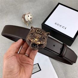 cinturones para hombre de cuero macizo Rebajas Cinturón casual de moda para hombre de negocios, cabeza de tigre, hebilla lisa, ancho del cinturón, cinturón de 3,8 cm sin caja