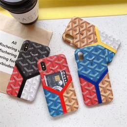 cartão protetor Desconto Capa de couro magro do telefone do desenhador para o iphone XS Max / XR X 8/7/6 mais o telefone de pilha protetor Shell do couro com o entalhe de cartão traseiro