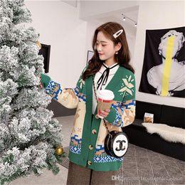 Damen hirsch pullover online-Weihnachten Milu Deer Damen Pullover Fashion Single Button Dick Donna Kleidung Designer Damen Casual Winter Tops