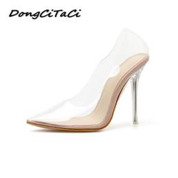 5ba900d6dbef91 2019 talons aiguilles clairs DongCiTaCi Femmes Talons Hauts Escarpins Chaussures  Claire Femme Cristal Transparent Talon Fin