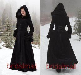 Casacos para noivas on-line-New Fur Hallowmas com capuz Cloaks Inverno Capes casamento Wicca Robe revestimento morno Coats noiva preto Natal Eventos Acessórios