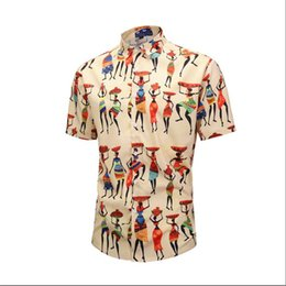 indian style shirt Coupons - Mens Regular Fit Hawaiian Shirts Funky Indian style Print Casual Shirts Man Summer Short Sleeve Button Down Beach aloha