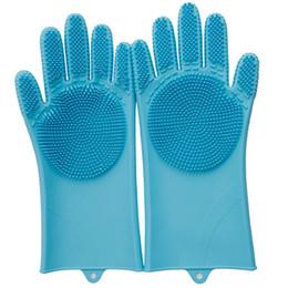 Lavare i piatti a mano online-FDA Protezione antiscivolo in silicone Protezione mani Lavapiatti Resistenza a caldo Guanti lunghi Guanti antiscivolo in gomma resistente