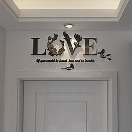 2020 ama la pared romántica Espejo del corazón 3D Amor desprendible de la pared de la etiqueta engomada mural del arte de la decoración del hogar Romantic Pared Pegatinas Para el hogar rebajas ama la pared romántica