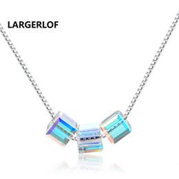 krytal halsketten Rabatt LARGERLOF Kristall Halskette Frauen 925 Sterling Silber Anhänger Edlen Schmuck Drei Crytal Kette Halskette Silber ED37034