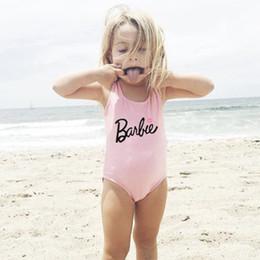 Maillot de bain style enfant en Ligne-Maillot de bain de style nordique pour enfants couleur unie doux mignon flamingo 2019 enfants maillot de bain filles lettre maillot de bain
