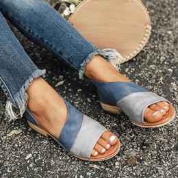 2019 chunky sandálias de salto baixo Peep Toe Apontou Sandálias Flat Verão Mulheres Moda Couro Casual Confortável Respirável Sapatos Tornozelo Sapatos Hollow-out Chunky Heel Sandals chunky sandálias de salto baixo barato
