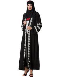 Xxl lange hülse spitze kleider online-Frauen muslimischen Robe Strickjacke Häkelspitze Langarm vorne offen lange lose Abaya Kleid schwarz G9436B-XXL