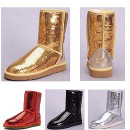 Boton rojo boton rojo online-Lentejuelas de moda oro rojo plata negro Zapatos de mujer invierno Australia Botas de nieve WGG Chica Tobillo Rodilla Invierno cálido Bota