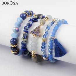 juegos de joyas de lapislázuli Rebajas venta al por mayor 5 Sets (5 Unids / set Pulseras Mixtas) Lapislázuli Azul Druzy Crystal Glass Beads Bracelet Sets Jewelry Charm Bracelet WX1183
