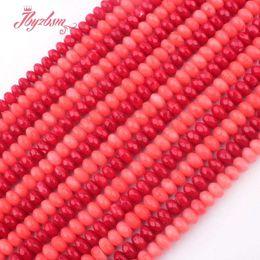 facetada contas rondelle Desconto 4x6mm Facetada Rondelle Coral Beads Contas De Pedra Naturais Para Colar DIY Pulseiras Jóias Eaaring Fazendo Solto 15