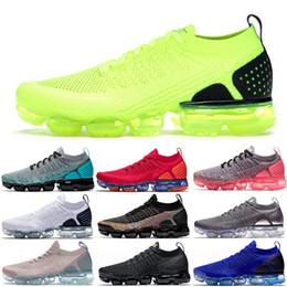 almofadas de luxo clássicos Desconto Nike Air Vapormax FLYKNIT 2 Luxo Clássico das mulheres dos homens Tênis de Corrida Volt Seja Verdadeiro Ultramarine Preto plataforma Vermelha TN Trainers Sneakers
