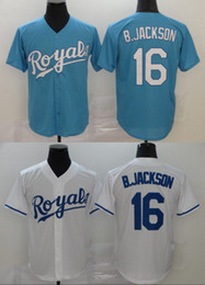 Camisas de basebol do azul bebé on-line-16 Bo Jackson Jersey 2020 Blue Season Branca Baby costuras duplas Baseball Jerseys a camisa no estoque